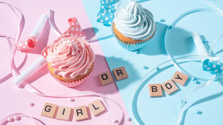 Pink and blue cupcakes gender reveal display