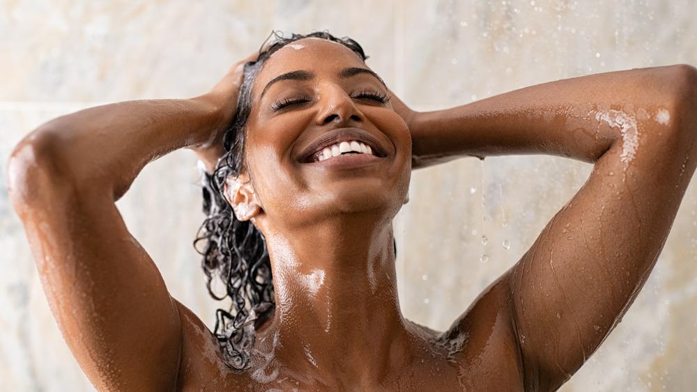 A woman washing her hair