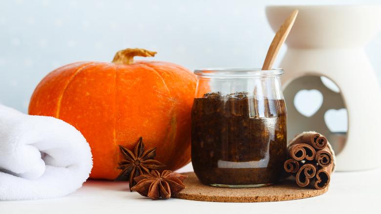 jar of pumpkin skincare scrub