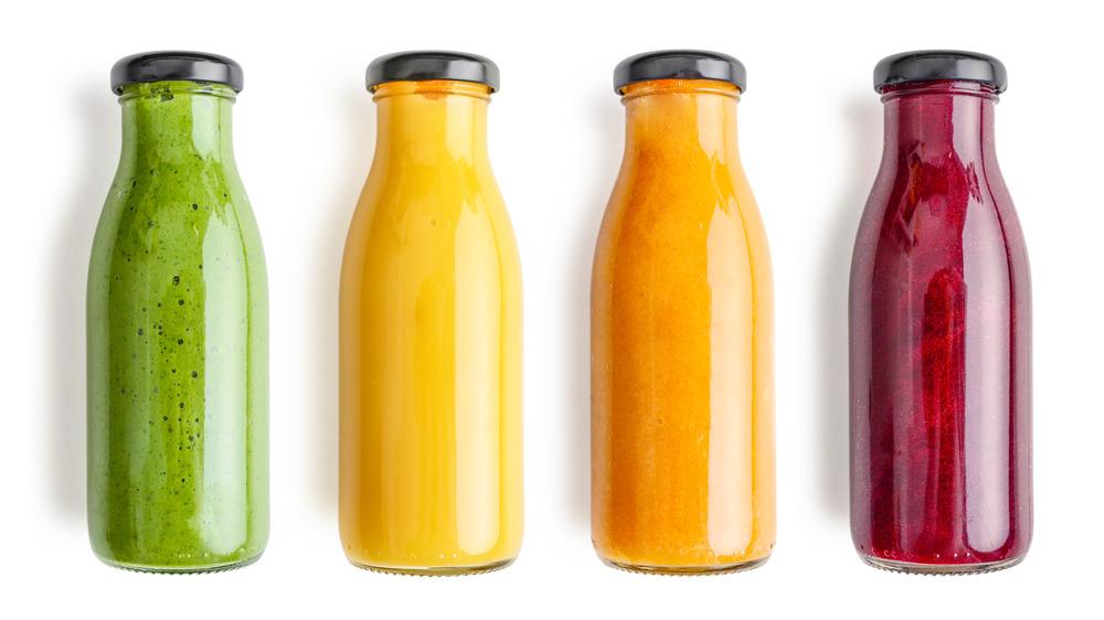 Rainbow smoothies bottled