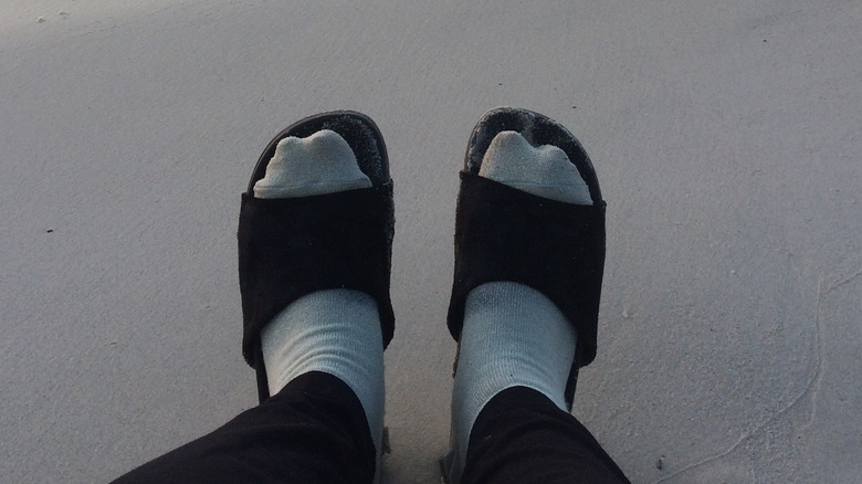 Socks, sandals, and the beach