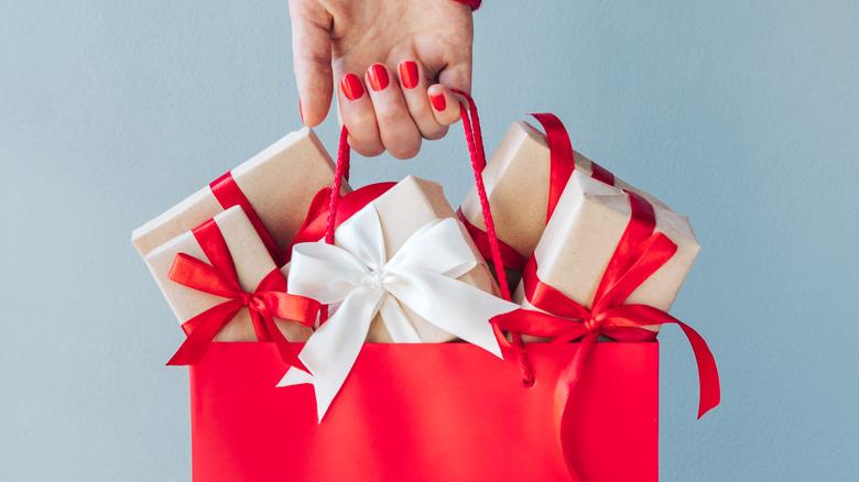 Gift bag with Christmas presents inside