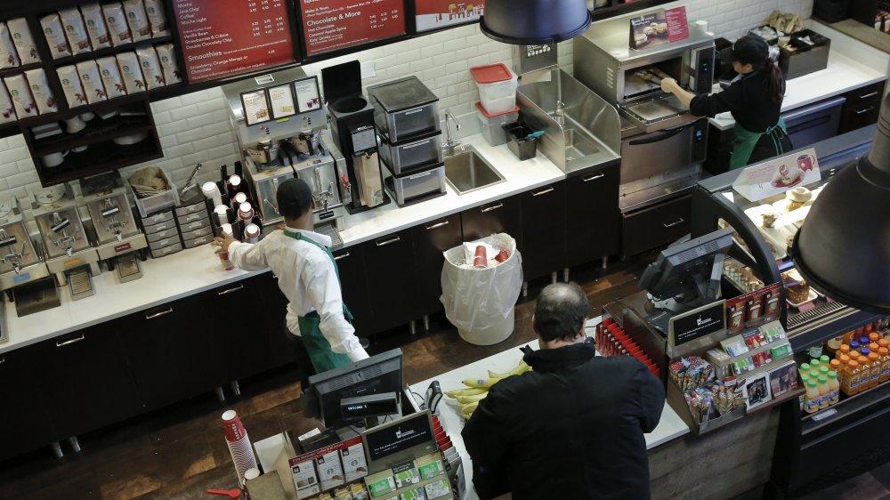 Topshot behind the counter at Starbucks