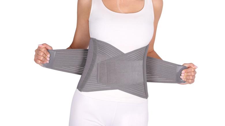 Woman wearing waist trainer