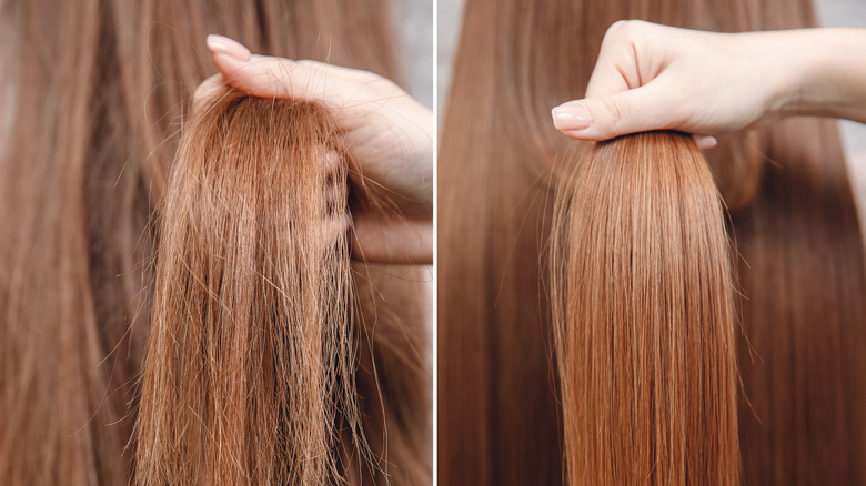 The smoothing and straightening effects of a keratin hair treatment
