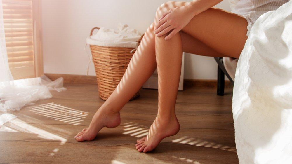 Bare feet on hardwood floors