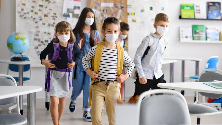 kids wearing face masks at school