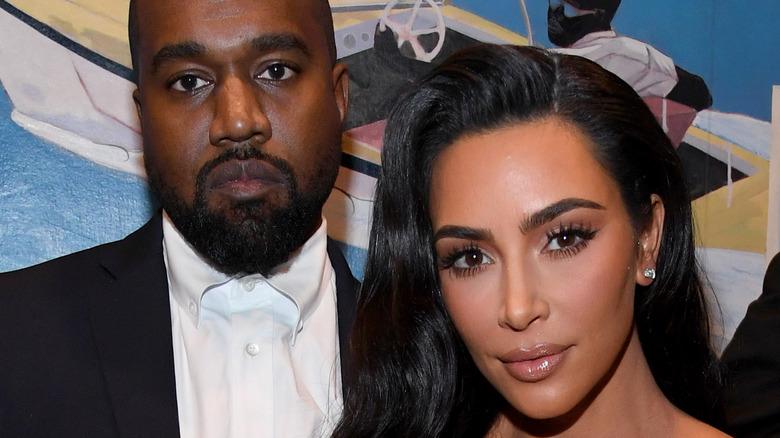Kim Kardashian and Kanye West on the red carpet.