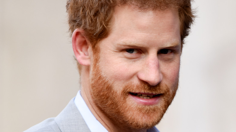 Prince Harry in gray suit