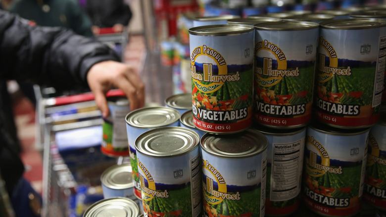Canned food at a food pantry