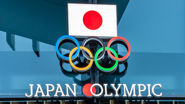 Olympic logo with Japanese flag