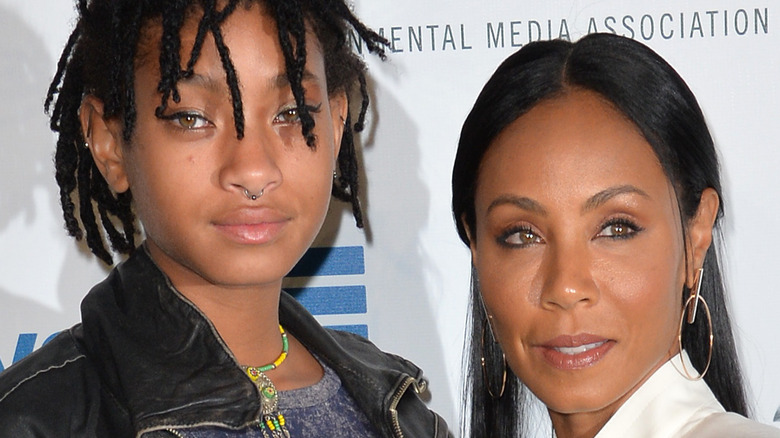 Willow and Jada Pinkett Smith pose together on the red carpet
