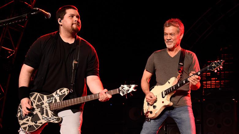 Wolfgang Van Halen with Eddie Van Halen