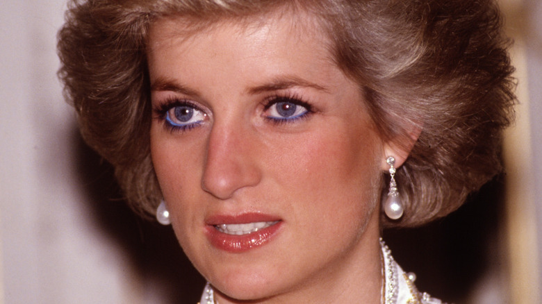 Princess Diana in pearl earrings