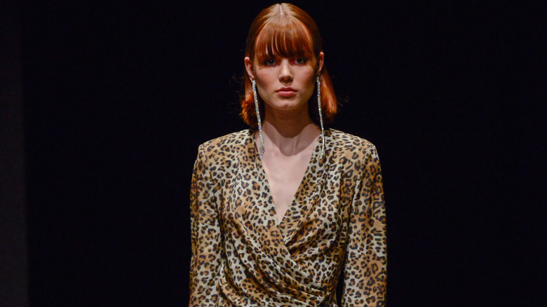 leopard print on runway model