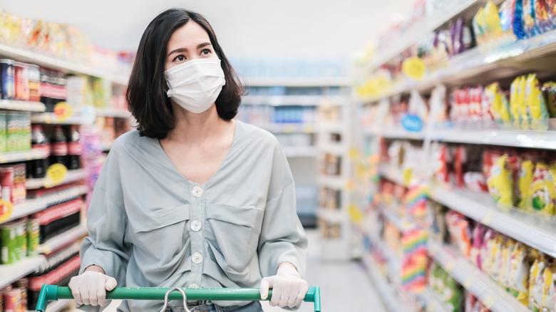 Shopper wearing mask in store