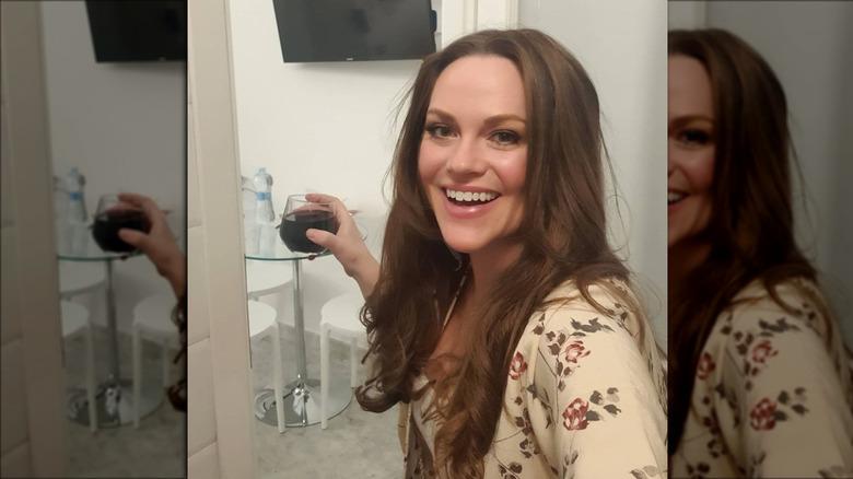 Below Deck's Chef Rachel drinking wine