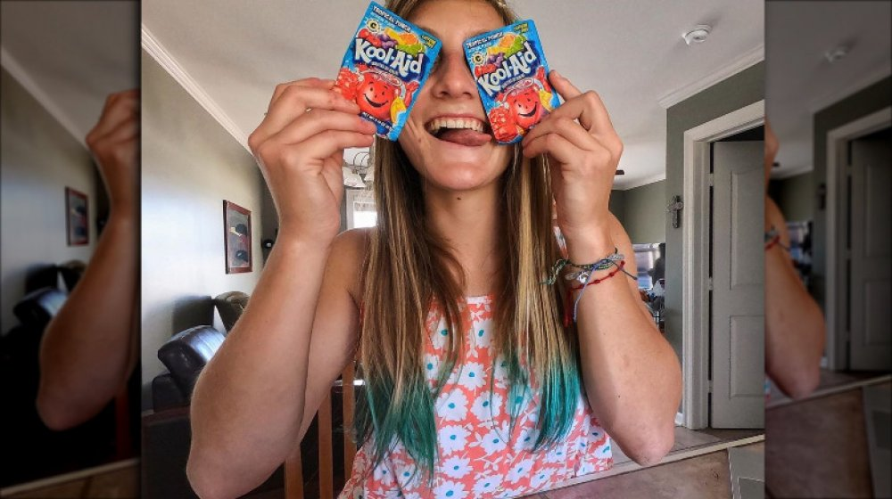 Woman with Kool-Aid dyed hair