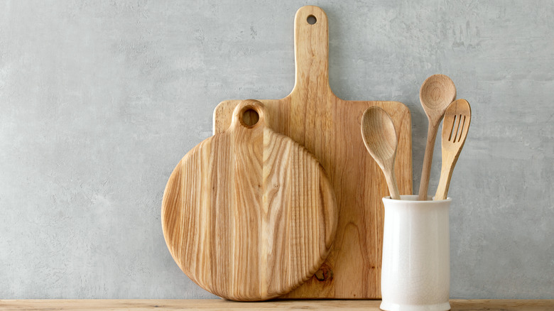 Wooden cutting boards and wooden utensils