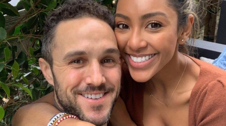 Zac Clark and Tayshia Adams smiling