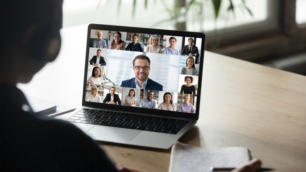 man and woman in video conferencing call